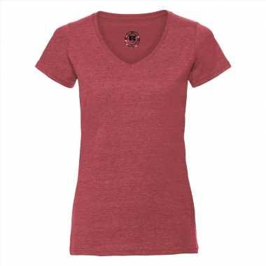 Goedkope rood dames t shirts met v hals