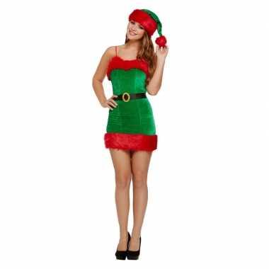 Goedkope rood/groene korte kerst jurk met muts voor dames