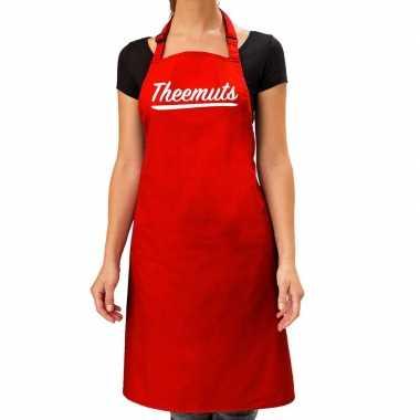 Goedkope rood keukenschort theemuts voor dames