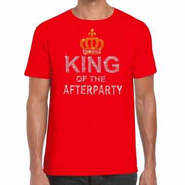 Goedkope rood king of the afterparty glitter steentjes t-shirt heren