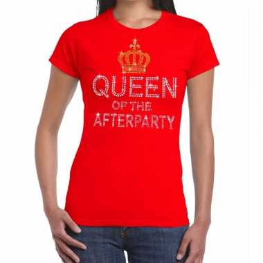 Goedkope rood queen of the afterparty glitter steentjes t-shirt dames