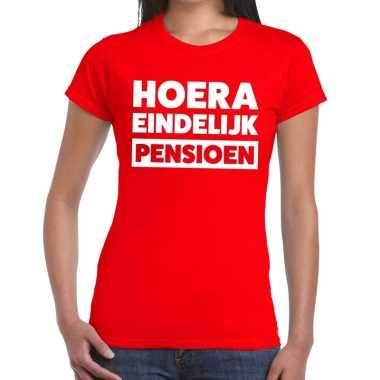 Goedkope rood retired/gepensioneerd fun t shirt dames