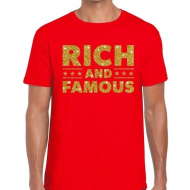 Goedkope rood rich and famous goud fun t shirt voor heren