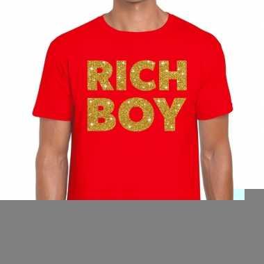 Goedkope rood rich boy goud fun t shirt voor heren