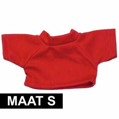 Goedkope rood shirt s voor clothies knuffeldier 10 x 8 cm