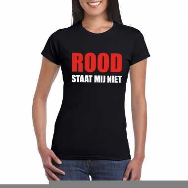 Goedkope rood staat mij niet fun t shirt voor dames zwart