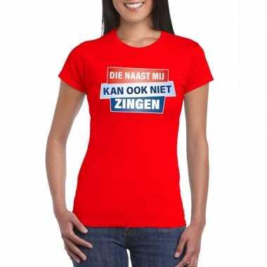 Goedkope rood t shirt die naast mij kan ook niet zingen dames