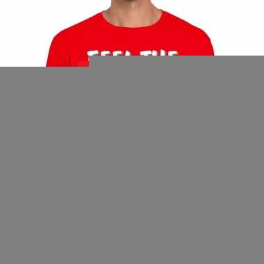 Goedkope rood t shirt feel te heat of the night voor heren