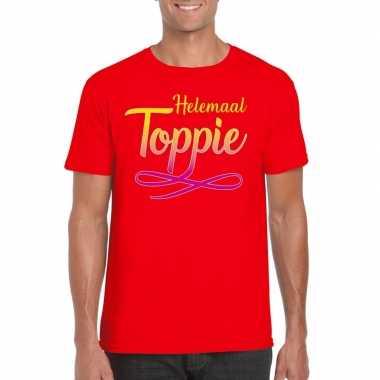 Goedkope rood t shirt heren met tekst helemaal toppie