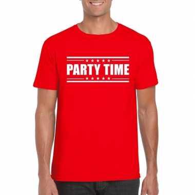 Goedkope rood t shirt heren met tekst party time