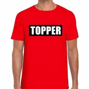 Goedkope rood t shirt heren met tekst topper in zwarte balk