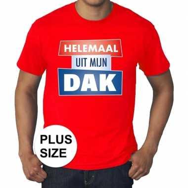 Goedkope rood t shirt in grote maat heren met tekst helemaal uit mijn