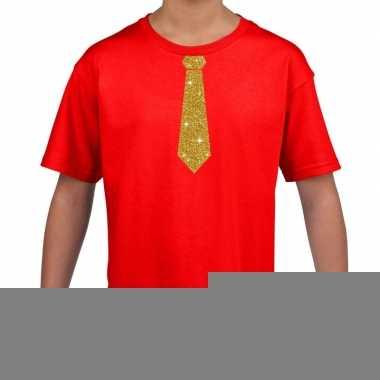 Goedkope rood t shirt met gouden stropdas voor kinderen