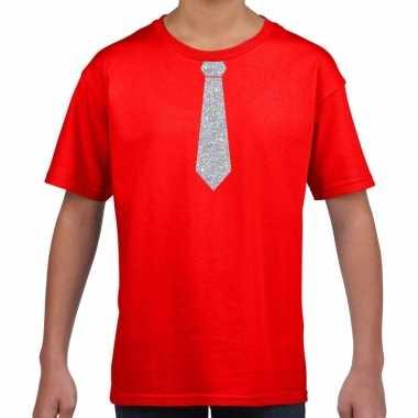 Goedkope rood t shirt met zilveren stropdas voor kinderen