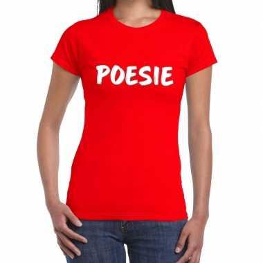Goedkope rood t shirt poesie voor dames
