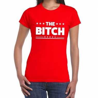 Goedkope rood t shirt the bitch voor dames