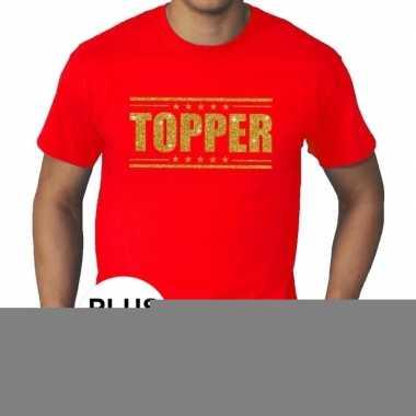 Goedkope rood topper grote maten t shirt gouden glitter letters heren