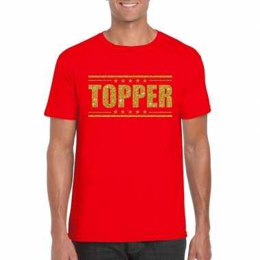 Goedkope rood topper shirt in gouden glitter letters heren