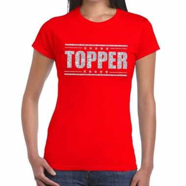 Goedkope rood topper shirt in zilveren glitter letters dames