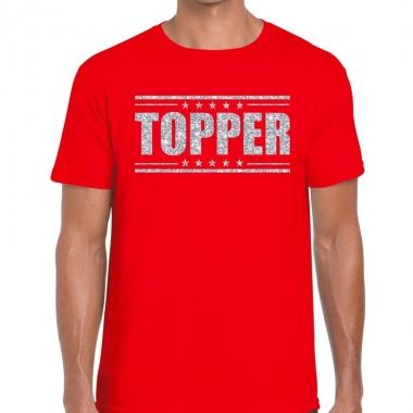 Goedkope rood topper shirt in zilveren glitter letters heren