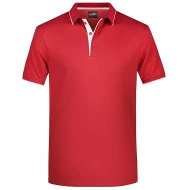 Goedkope rood/wit premium poloshirt golf pro voor heren