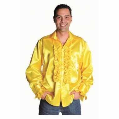 Goedkope rouches overhemd geel voor heren