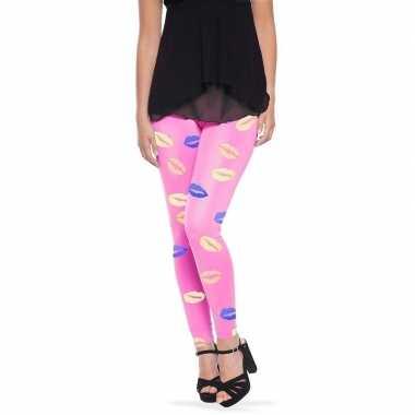 Goedkope roze broek met lippen/kusjes voor dames