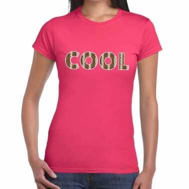 Goedkope roze cool slangenprint fun t shirt voor dames