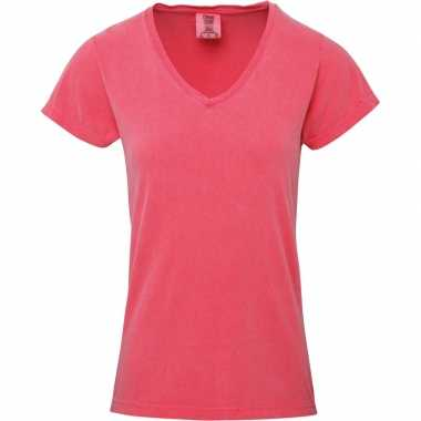 Goedkope roze dames t shirts met v hals