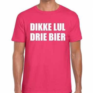 Goedkope roze dikke lul drie bier fun t shirt voor heren