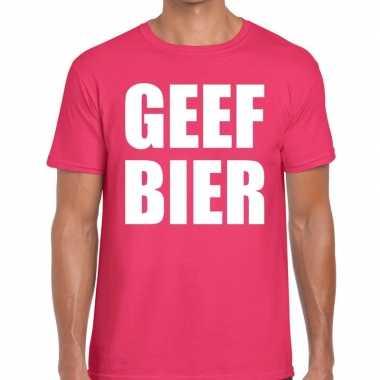 Goedkope roze geef bier fun t shirt voor heren