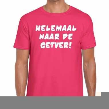 Goedkope roze helemaal naar de getver fun t shirt voor heren