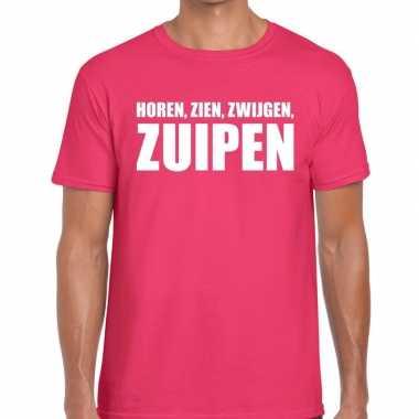 Goedkope roze horen zien zwijgen zuipen fun t shirt voor heren