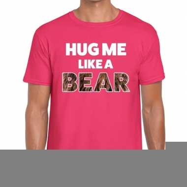 Goedkope roze hug me like a bear fun t shirt voor heren