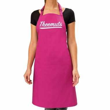 Goedkope roze keukenschort theemuts voor dames