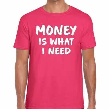 Goedkope roze money is what i need shirt voor heren