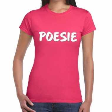 Goedkope roze poesie shirt voor dames