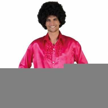 Goedkope roze rouche overhemd voor heren