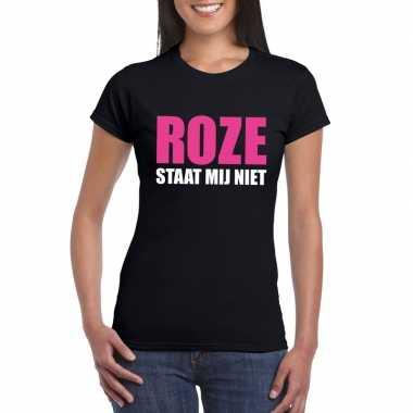 Goedkope roze staat mij niet fun t shirt voor dames zwart