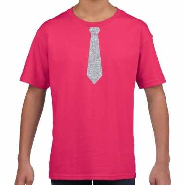 Goedkope roze t shirt met zilveren stropdas voor kinderen
