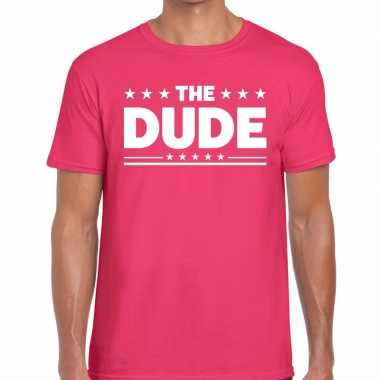 Goedkope roze the dude fun t shirt voor heren
