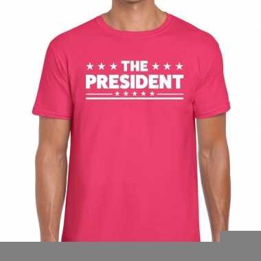 Goedkope roze the president fun t shirt voor heren