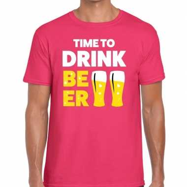 Goedkope roze time to drink beer fun t shirt voor heren