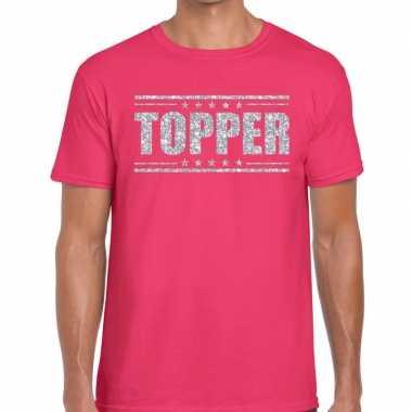 Goedkope roze topper shirt in zilveren glitter letters heren