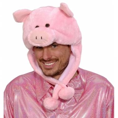 Goedkope roze varkens muts voor volwassenen