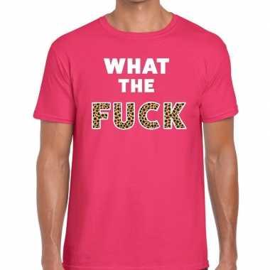 Goedkope roze what the fuck tijger print fun t shirt voor heren
