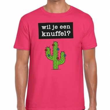 Goedkope roze wil je een knuffel fun t shirt voor heren