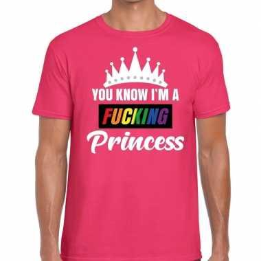 Goedkope roze you know i am a fucking princess t shirt heren