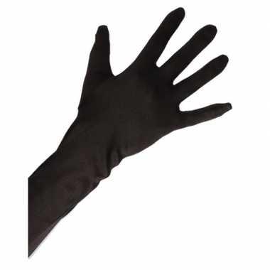 Goedkope satijnen handschoenen zwart lang voor volwassenen