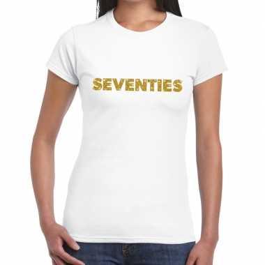 Goedkope seventies goud fun t shirt wit voor dames